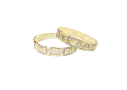 CNC Wide Bangles with Two Tone Plated