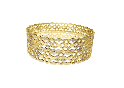 Fashionable Two Tone Plated Elegant CNC Bangles