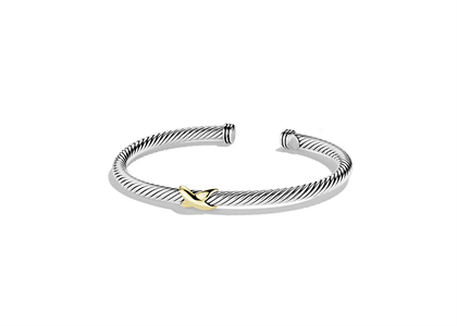 Two Tone Plated Twisted X Bracelet