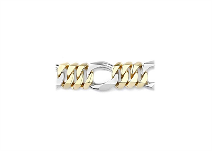 Two Tone Plated 1.60 mm Figaro Chain Bracelet