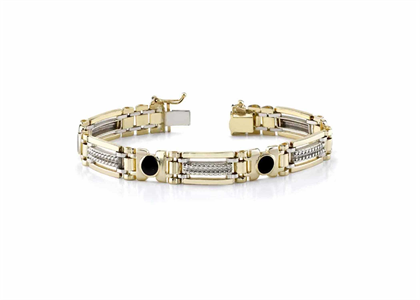Two Tone Plated Mens Bracelet