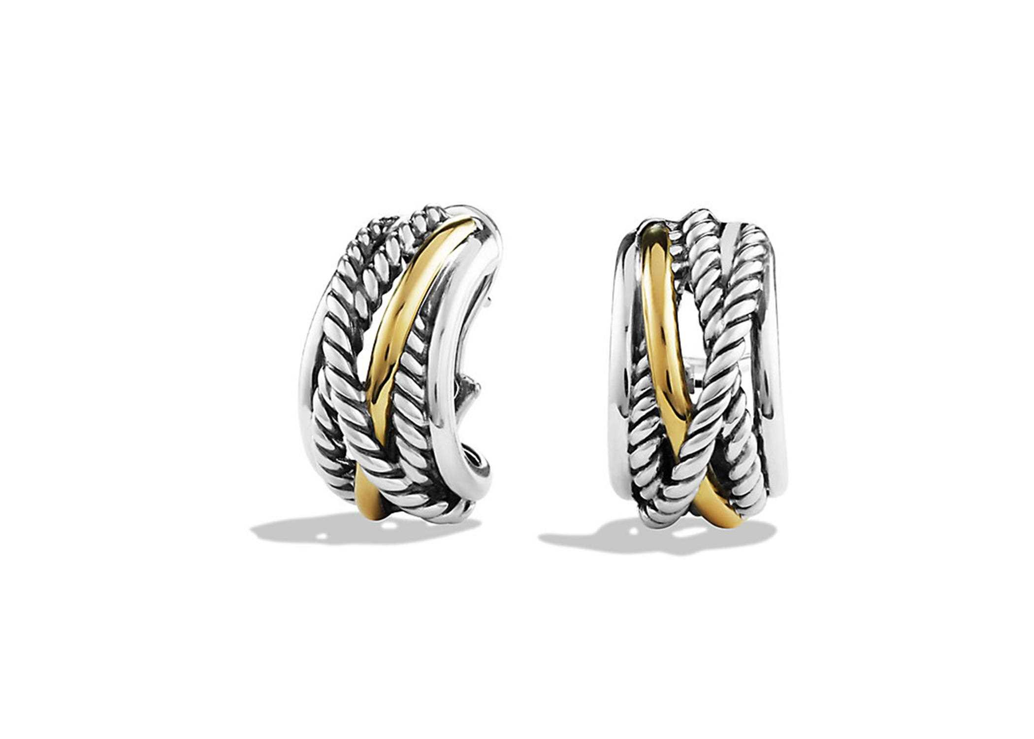 Two Tone Plated Twisted Wire Stud Earring
