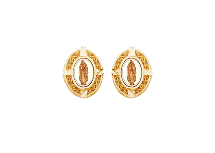 Two Tone Plated Filigree Virgin Mary Earring