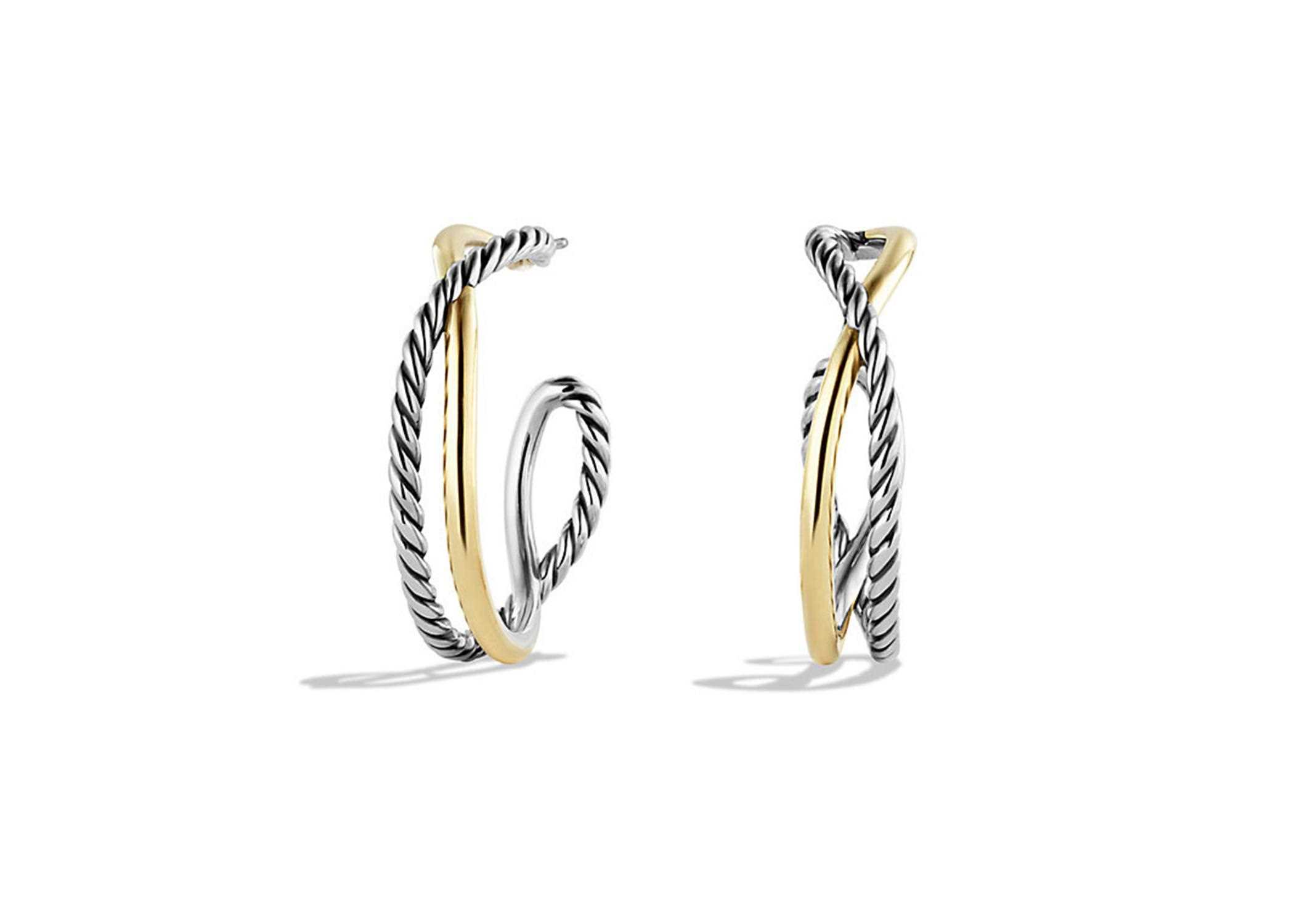 Two Tone Plated Twisted Wire Fancy Shaped Hoop Earring