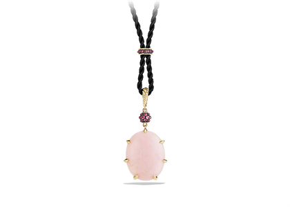 Two Tone Plated Pink CZ Studded Pink Oval Cut Pendant