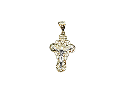 Two Tone Plated Filigree Crucifix Cross Pendant
