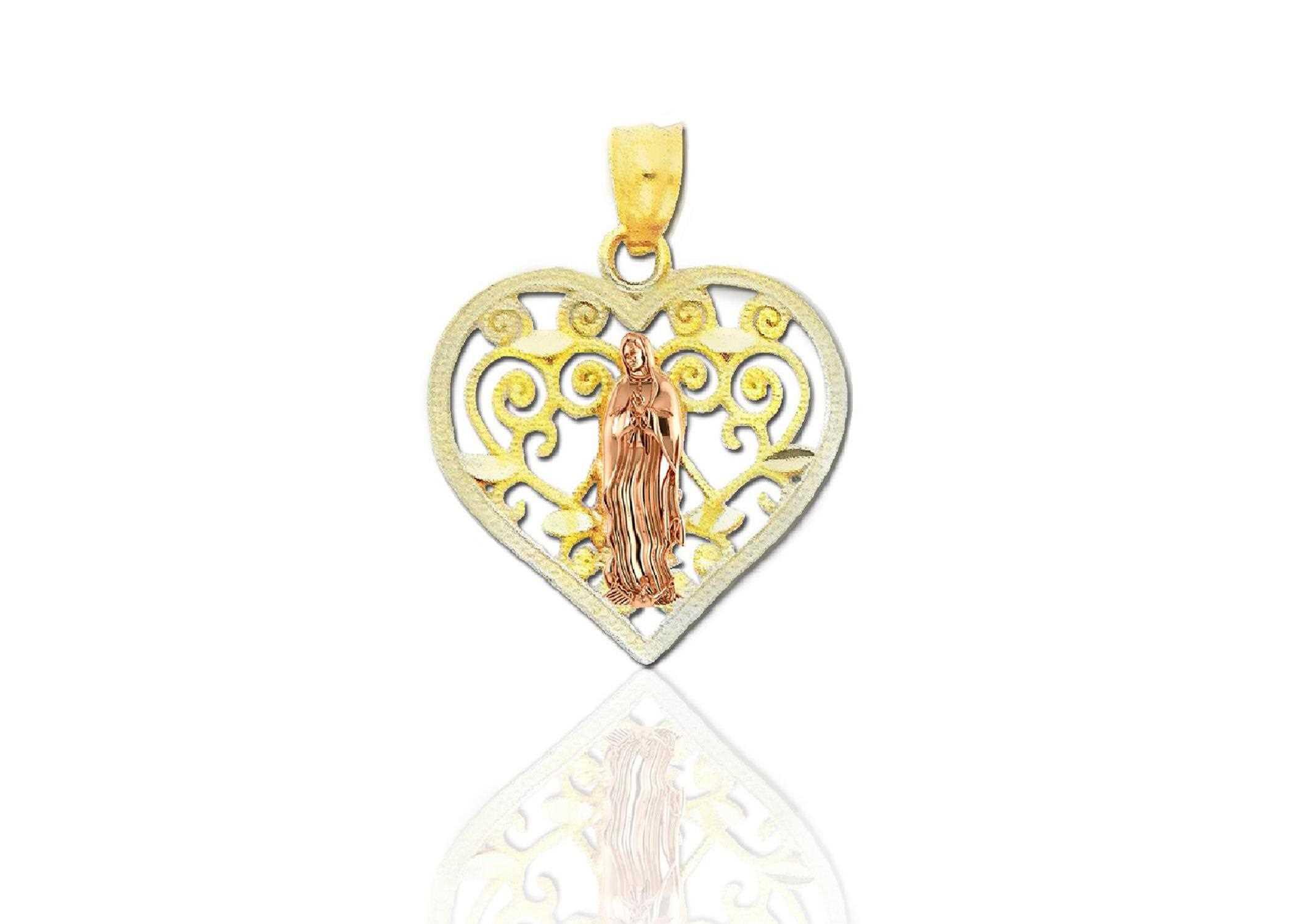 Two tone plated virgin mary filigree heart pendant aloadofball Choice Image