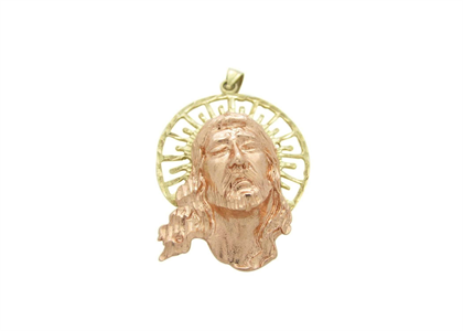 Two Tone Plated Aura of Jesus Head Pendant