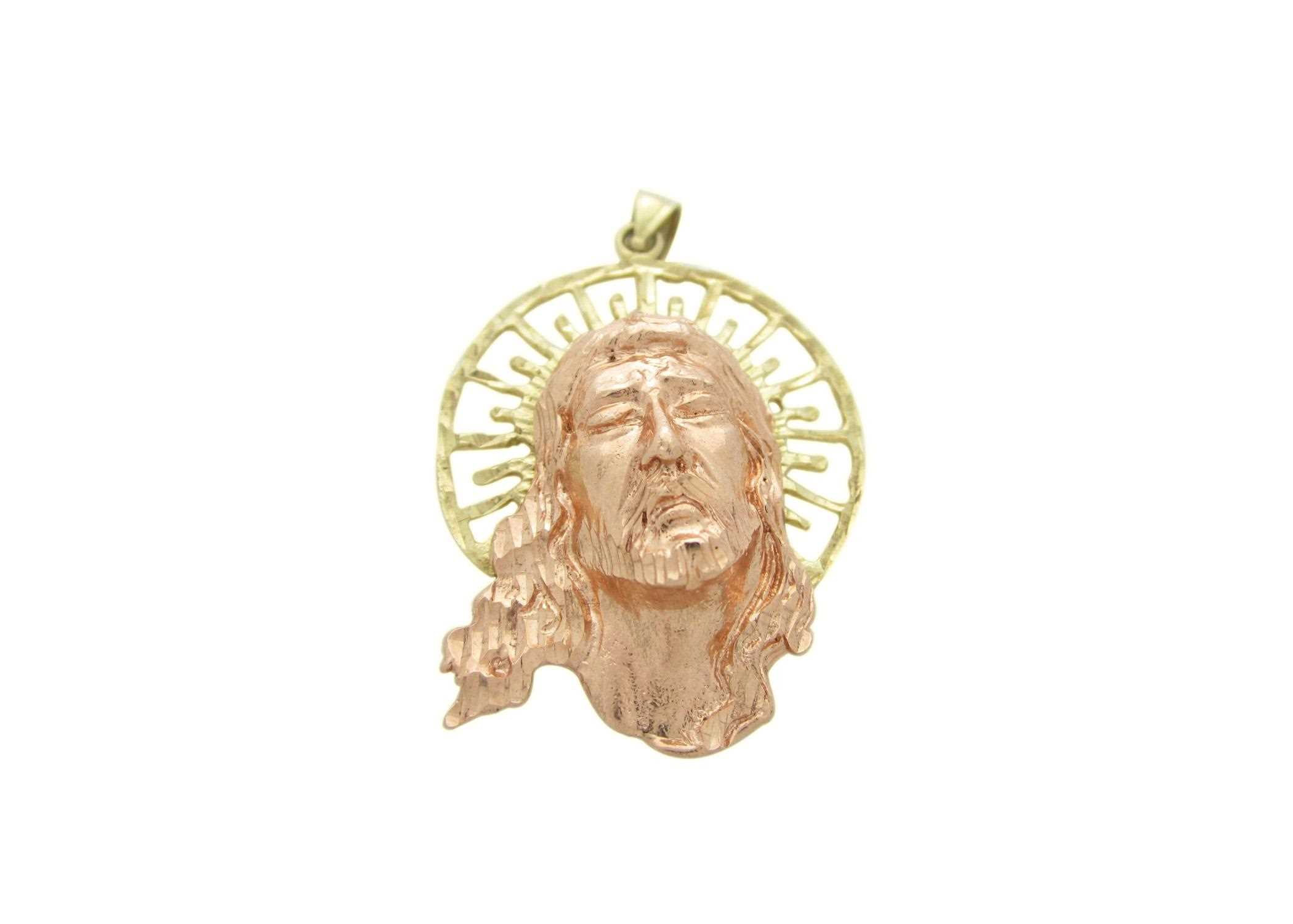 Two tone plated aura of jesus head pendant aloadofball Choice Image