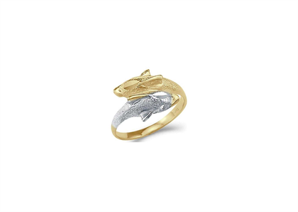 Two Tone Plated Animal Double Dolphin Ring
