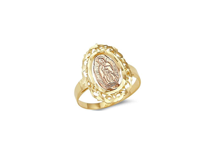 Two Tone Plated Filigree Virgin Mary Ring