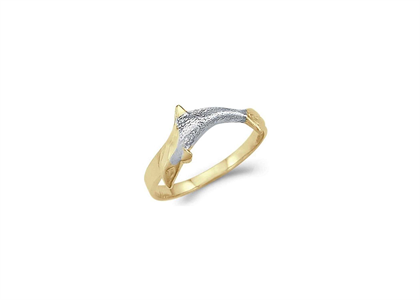 Two Tone Plated Animal Dolphin Ring