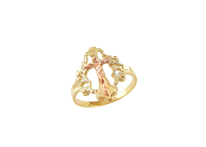 Two Tone Plated Mother Mary Cross Catholic Ring