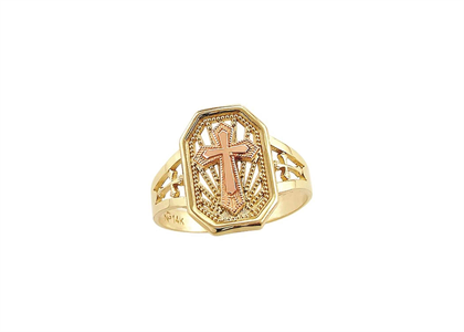 Two Tone Plated Filigree Cross Catholic Ring