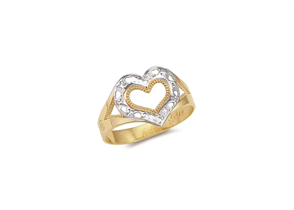 Two Tone Plated Filigree Heart Ring