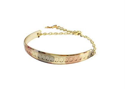 Tri Color Plated Diamond Cut Charm Bangle Bracelet