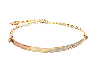 Fashion Three Tone Plated Charm Bangle Bracelet