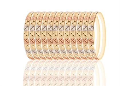 6mm Tri Color Plated 7pcs Saminario Bangle