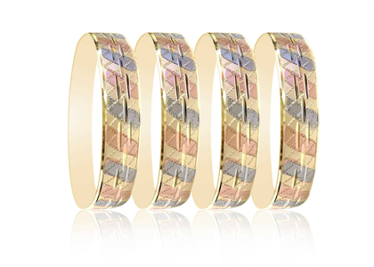 Three Tone Plated 20 MM Bangles