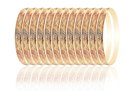 Tri Tone Plated | High Polish Diamond Cut Bangles
