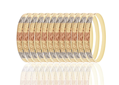 Three Tone Plated | High Polish Diamond Cut Bangles