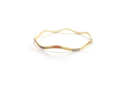 3 tone plated bangle with texture and zig zag shape