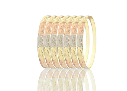 Tri Color Plated 7Day Virgin Mary Semanario Bangles 6mm