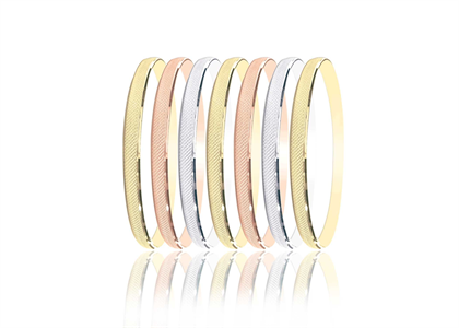 14Kt Tri Color Rose Gold,Yellow Gold,White Gold Bangle