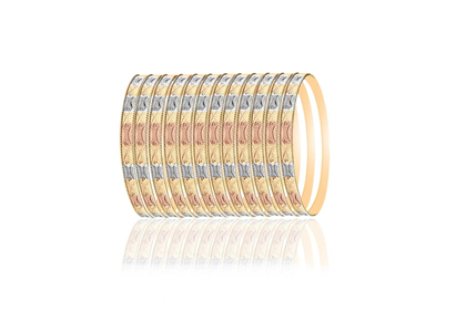 Three Tone Plated Side Veni Bangles