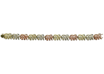 Three Tone Plated Elephant Bracelet