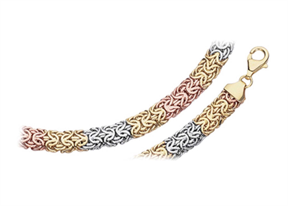 Three Tone Plated Mens Byzantine Chain