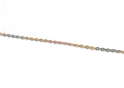 Three Tone Plated 2 mm Link Chain