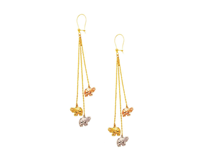 Three Tone Plated Dangle Elephant Earring