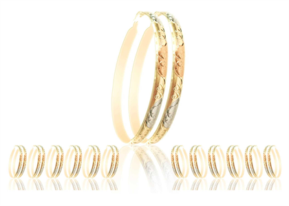 Three Tone Plated 6MM Bangle Earrings