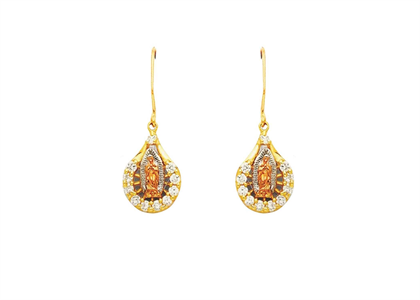 Three Tone Plated Guadalupe CZ Earring