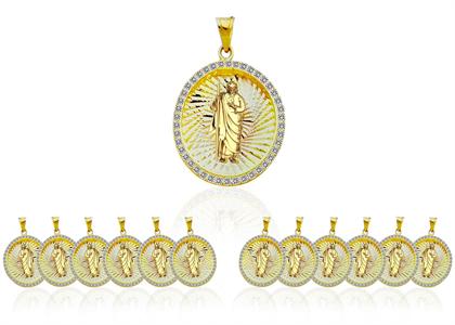 3 Tone Plated San Judas CZ Studded Fashion Brass Medal