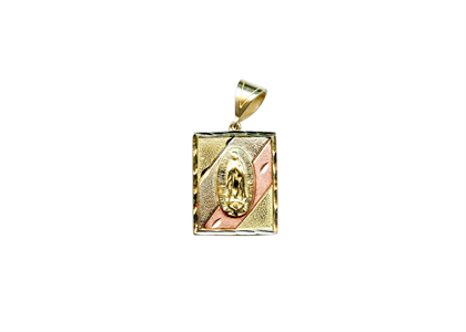 Three Tone Plated Mother Mary Rectangle Pendant