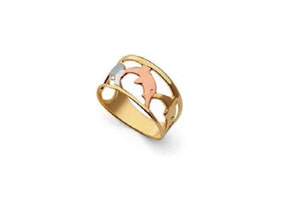 Three Tone Plated Dolphin Ring