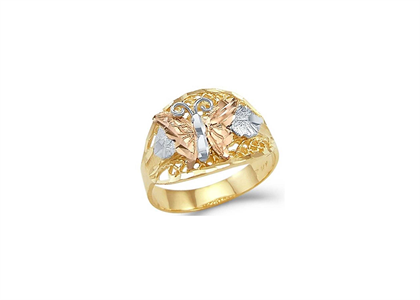 Three Tone Plated Filigree Butterfly Ring