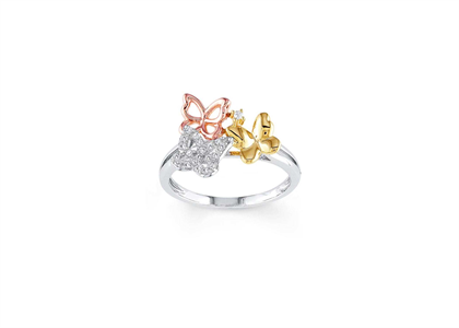 Three Tone Plated Butterfly Ring