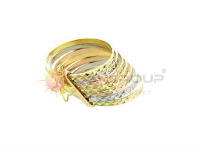 Three Tone Plated 7 Days Butterfly Charm Ring