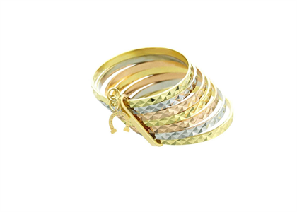 Horseshoe Charm Stack Ring with Three Tone Plated