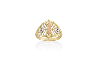 Three Tone Plated Mother Mary Ring