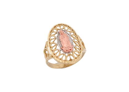 Three Tone Plated Filigree Mother Mary Ring