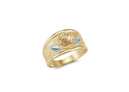 Three Tone Plated Flower Ring