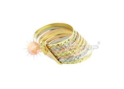 Three Tone Plated 7 Days Fish Charm Ring