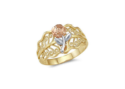 Three Tone Plated Filigree Flower ring