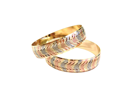 Tri Tone Plated | Laser Bangles