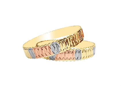 Tri Tone Plated | Machine Cut Bangles