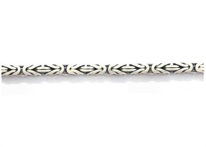Rhodium Plated Mens Byzantine Chain